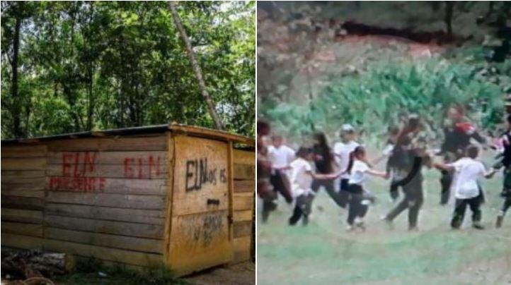 Las fotos de la polémica, que fueron tomadas en el Catatumbo (i) y en el Cauca (d).