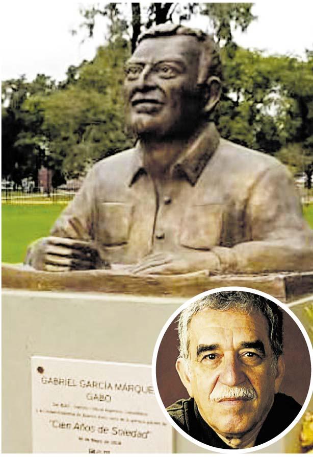 Gabo. Un busto del escritor en Buenos Aires causó polémica por  la diferencia de sus facciones.