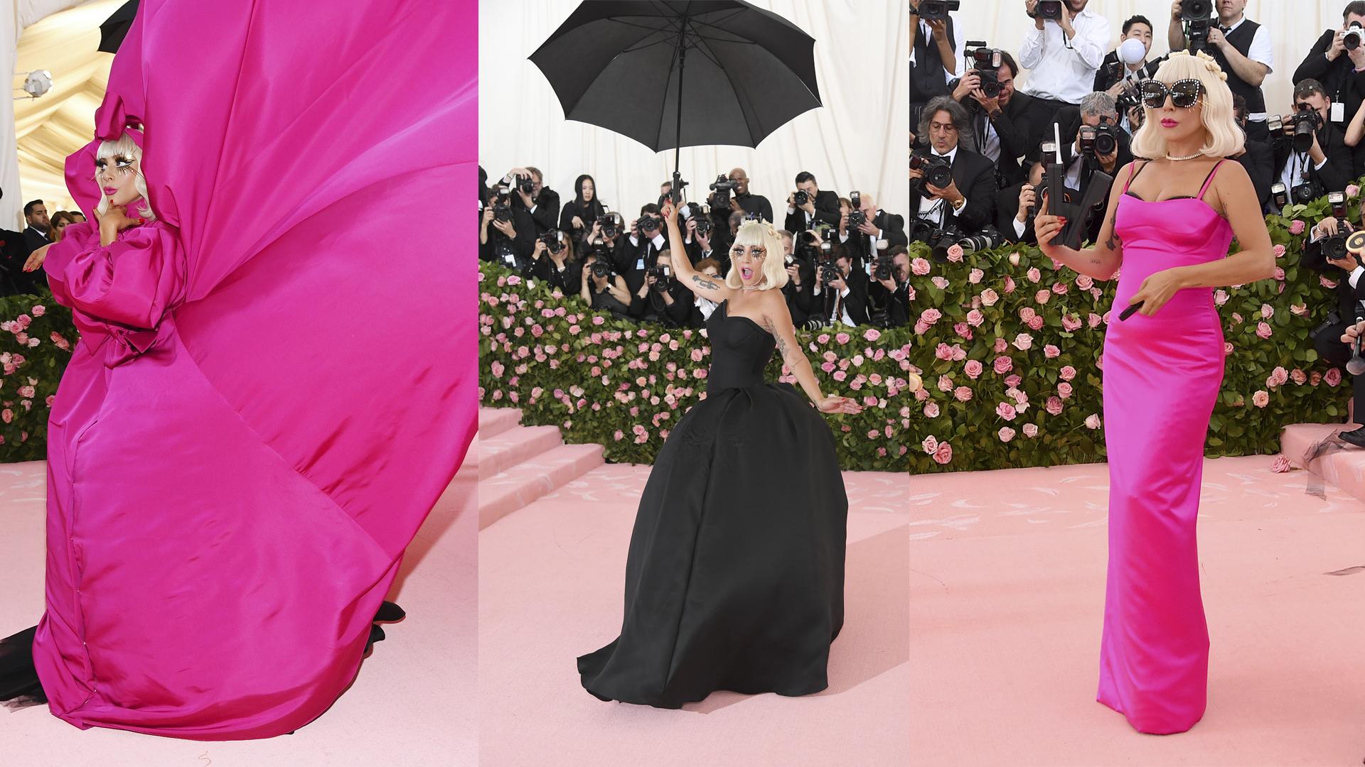 Lady Gaga lució 3 vestidos, antes de dar una sorpresa final, acompañada de Brandon Maxwell.