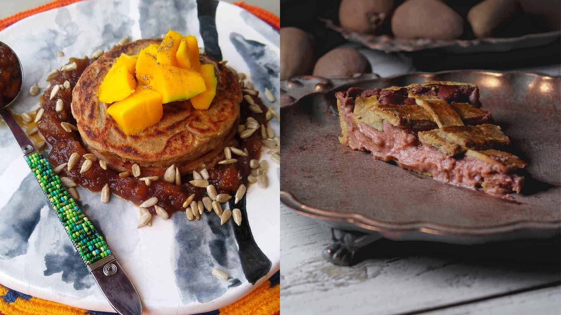 Pancake de níspero con mermelada y pie de níspero hecho en casa.