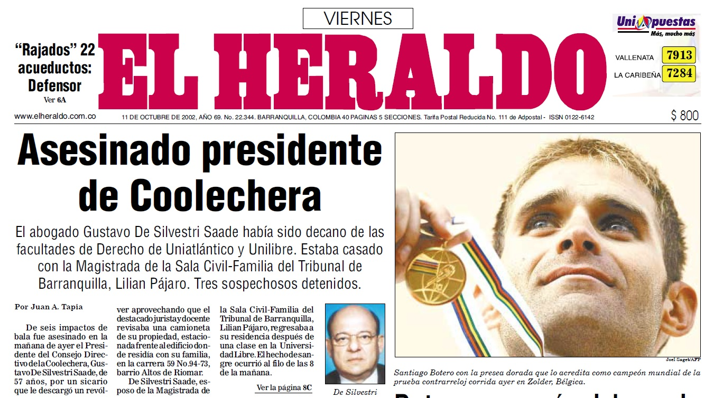 Primera página de EL HERALDO, el viernes 11 de octubre de 2002, con la noticia del crimen.