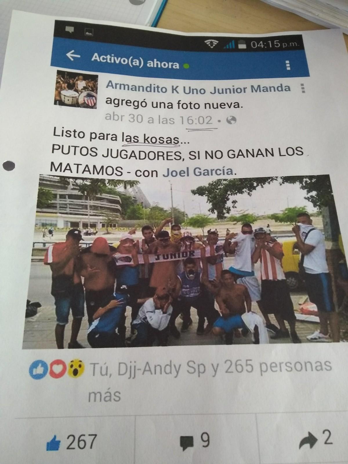 Una de las publicaciones realizadas por Castro.