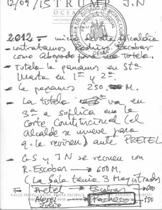 La agenda de Edmundo Rodríguez con los supuestos pagos a los exjueces.