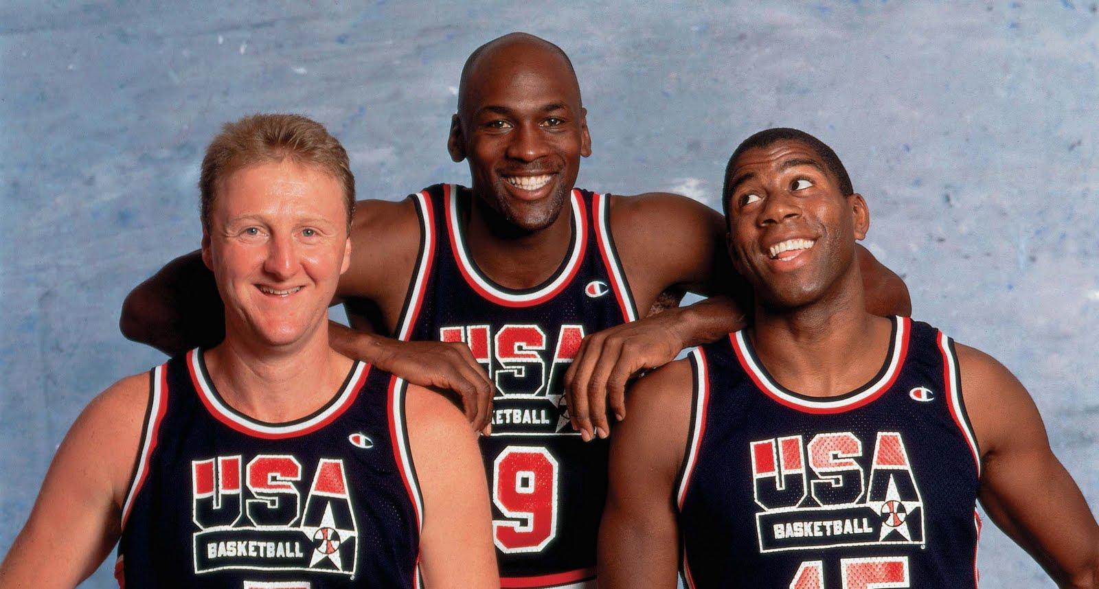 Larry, Bird y Jordan, jugadores emblemas del Dream Team de los Estados Unidos en la década de los 90.