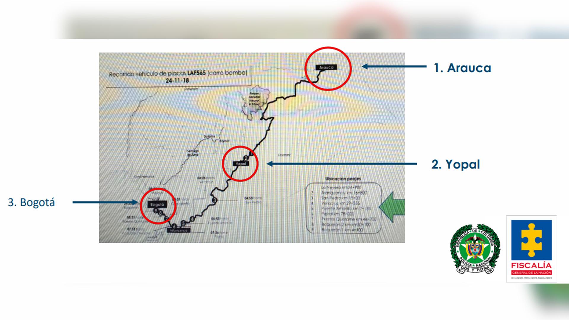 Mapa del recorrido del vehículo entre Arauca y Bogotá.