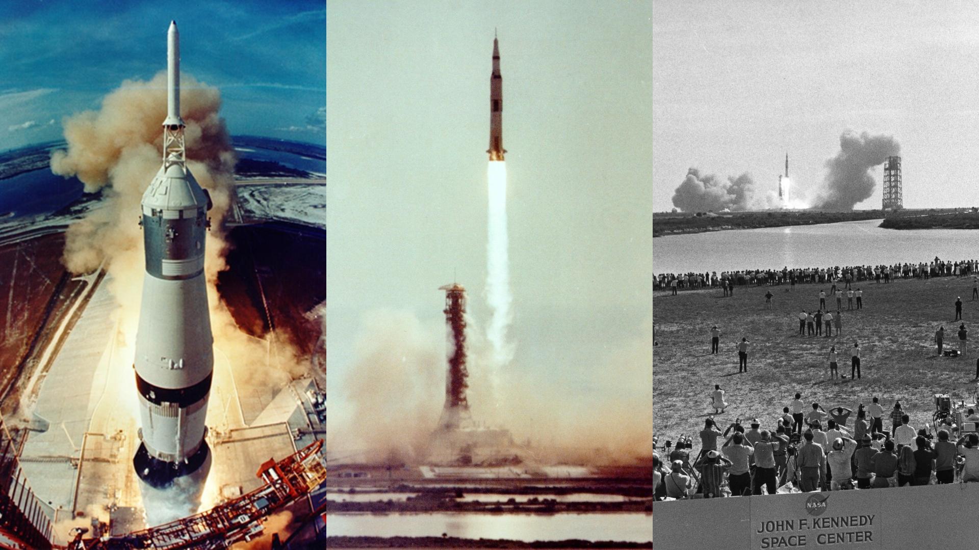 Momento del despegue del Apolo 11 Saturno V. A la derecha la vista desde la torre de control.