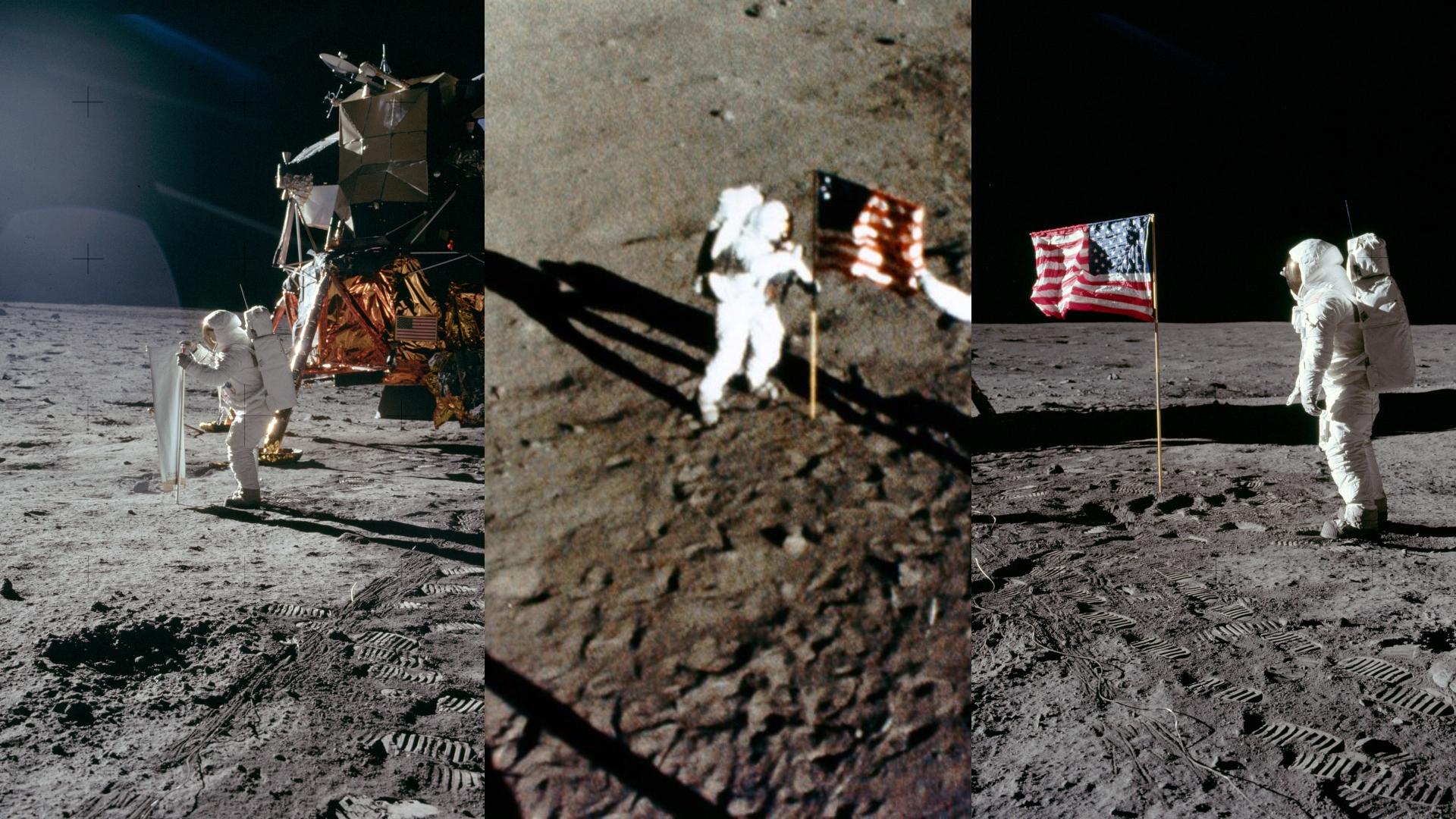 Momento en que Buzz Aldrin y Michael Collins descienden a la superficie lunar e instalan la bandera de Estados Unidos.