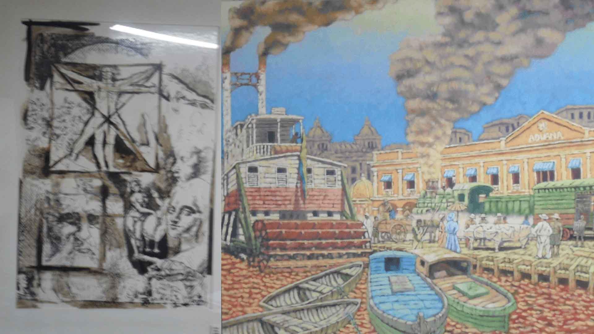 Obra de Efraín Cortéz y Viejo Puerto de la Aduana, de Gustavo Castillo.
