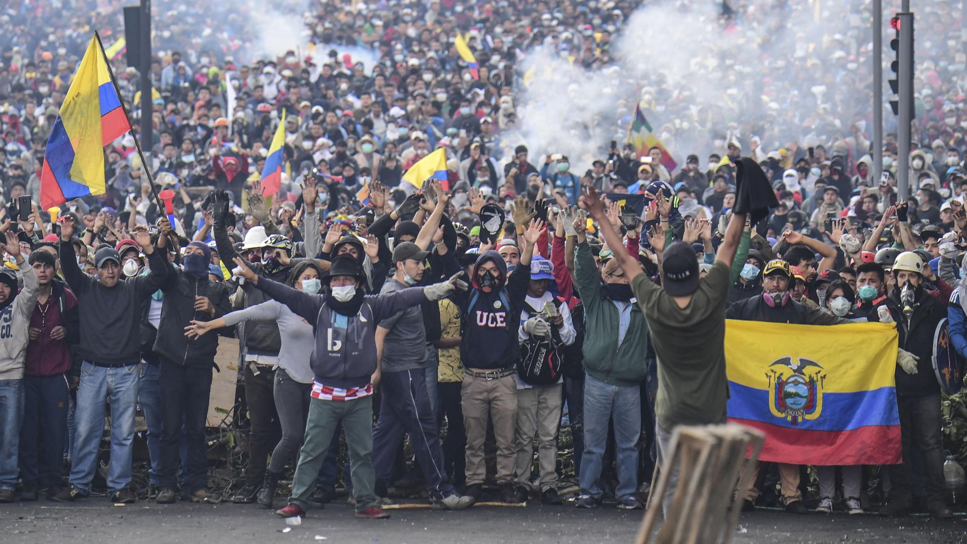Manifestantes en Ecuador.