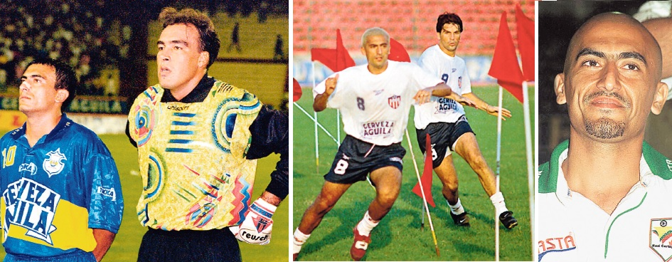 Villa (izq.) antes de un juego con el Unicosta.  Villa en Junior junto a Daniel Tilger Con el R. Cartagena.