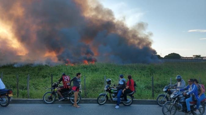 Incendio forestal en área rural de Córdoba.