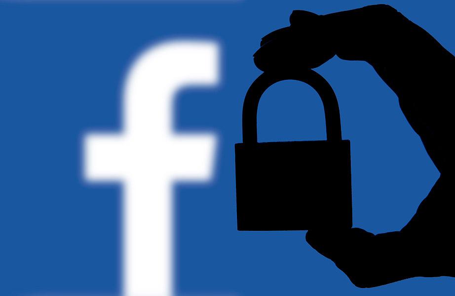 Logo de Facebook y un candado en la sombra.
