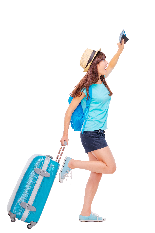 Correr con una maleta para viajar.