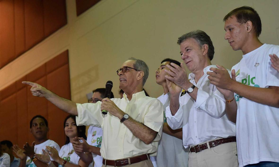Con el presidente Santos.