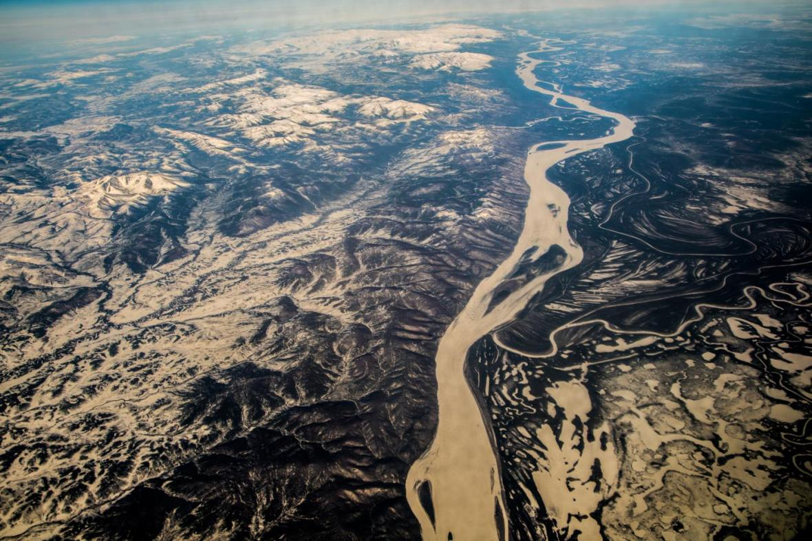 El río Yukón, que atraviesa Alaska y desemboca en el mar de Bering.