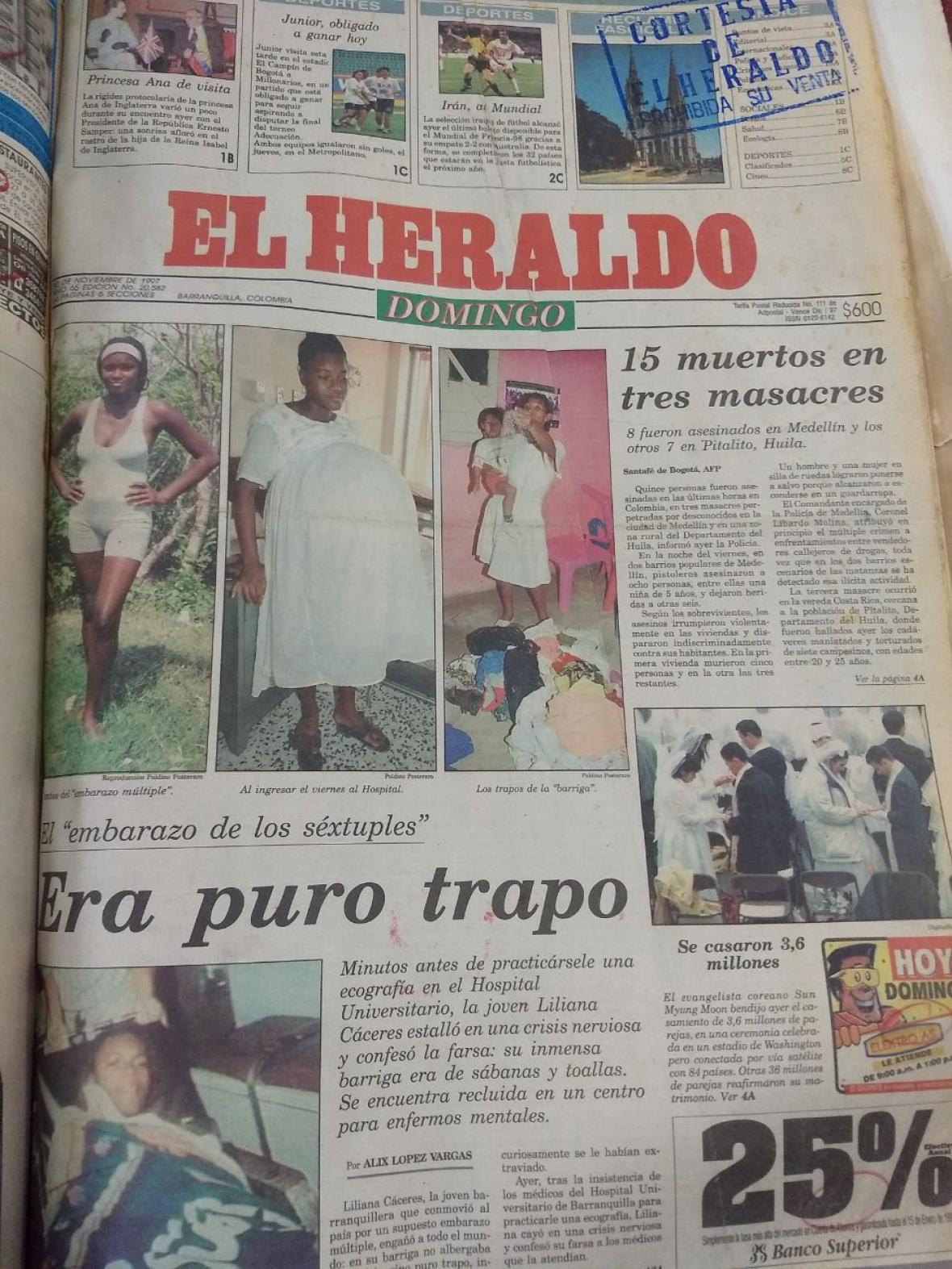 Página principal de EL HERALDO el 30/11/97.