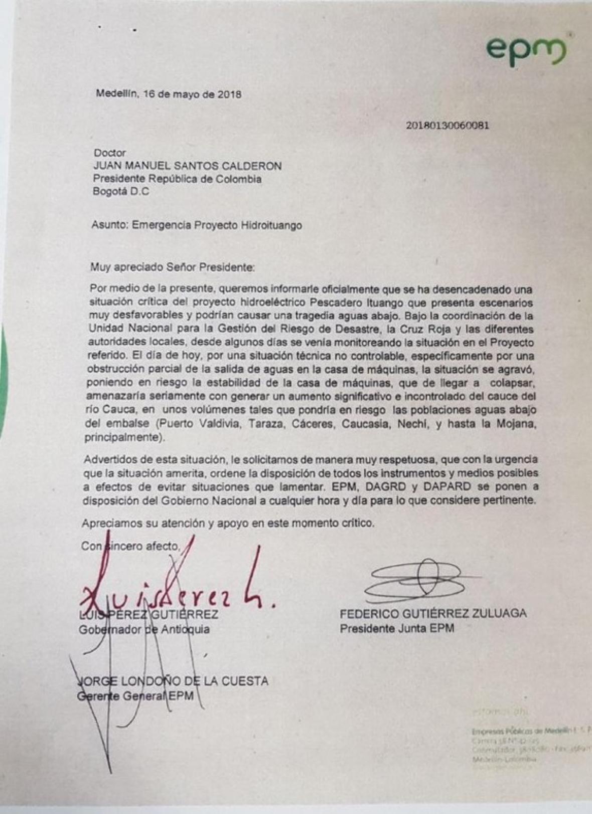 Esta es la carta que el gobernador de Antioquia, Luis Pérez, envió al presidente Santos.