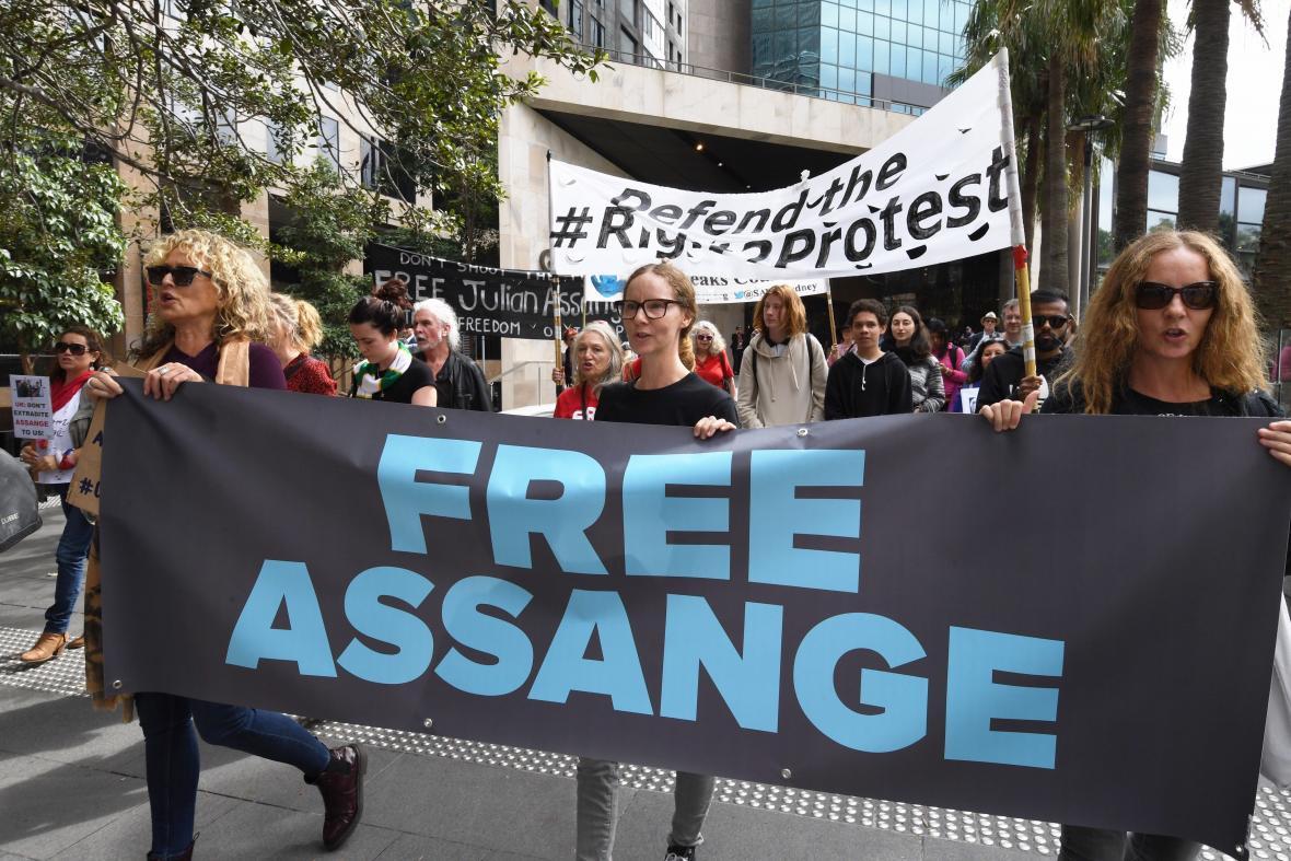 Las protestas en Sidney que piden la liberación de Assange.