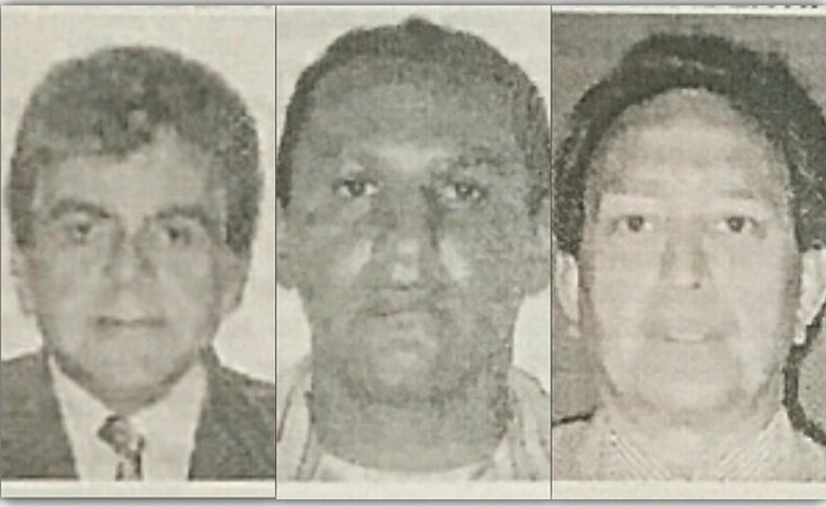 (De izq. a der.) Fabio Simón Younes; Marlon Marín, sobrino de 'Iván Márquez', y Armando Gómez España, sindicados de ser parte de la red de 'Jesús Santrich' para el envío de cocaína a Estados Unidos.