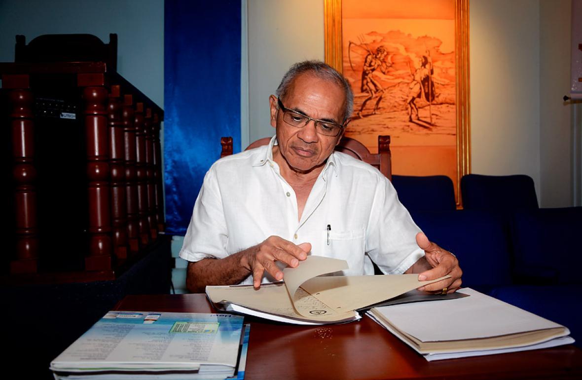 Manuel Torres Polo, gran maestro de masones en el templo central de la gran Logia en Barranquilla.