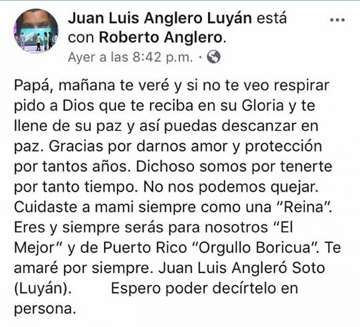 El mensaje del hijo de Roberto Angleró en el que informa sobre la muerte del músico.