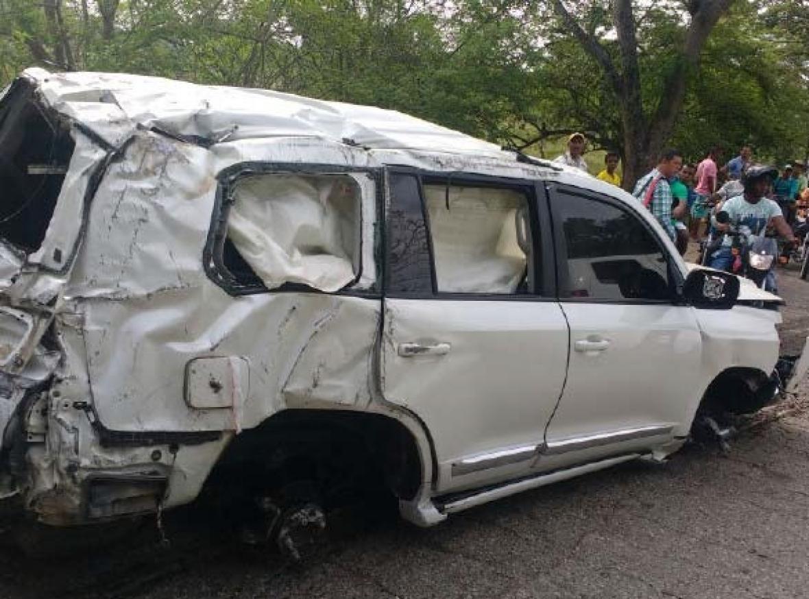 Así quedó la camioneta en la que se desplazaban el día del accidente.