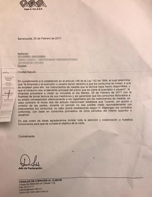 Carta denunciada por los ciudadanos.