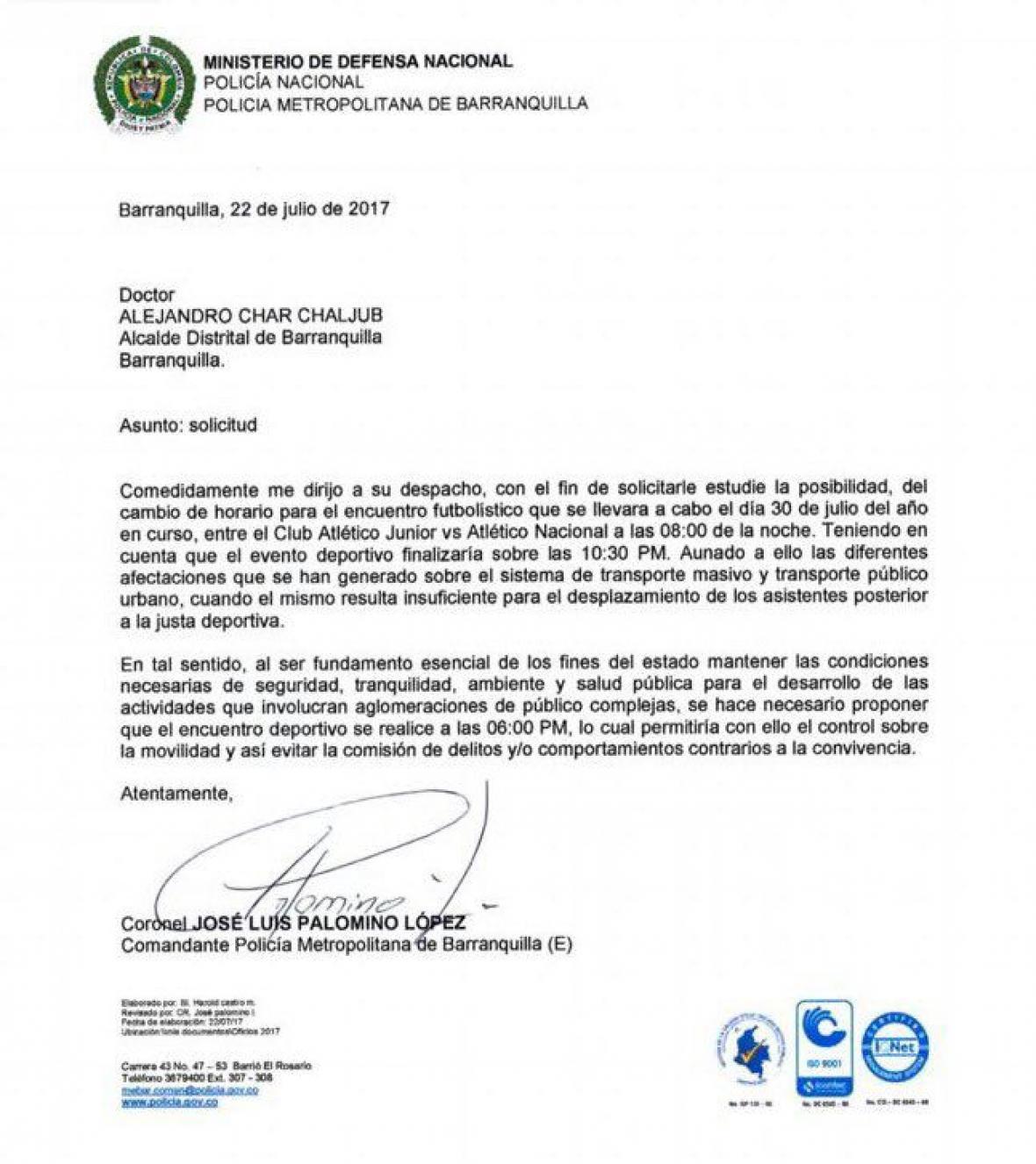 Carta enviada por la Policía Metropolitana de Barranquilla a la Alcaldía.