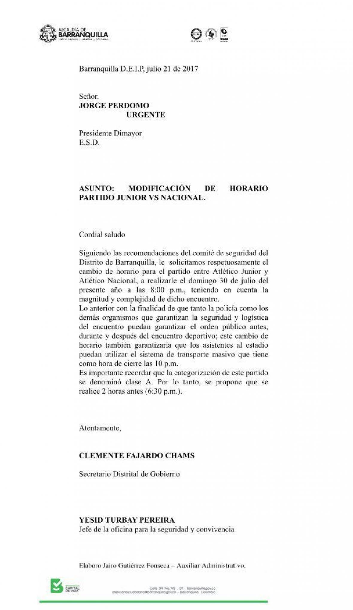 Carta enviada por la Alcaldía a la Dimayor.