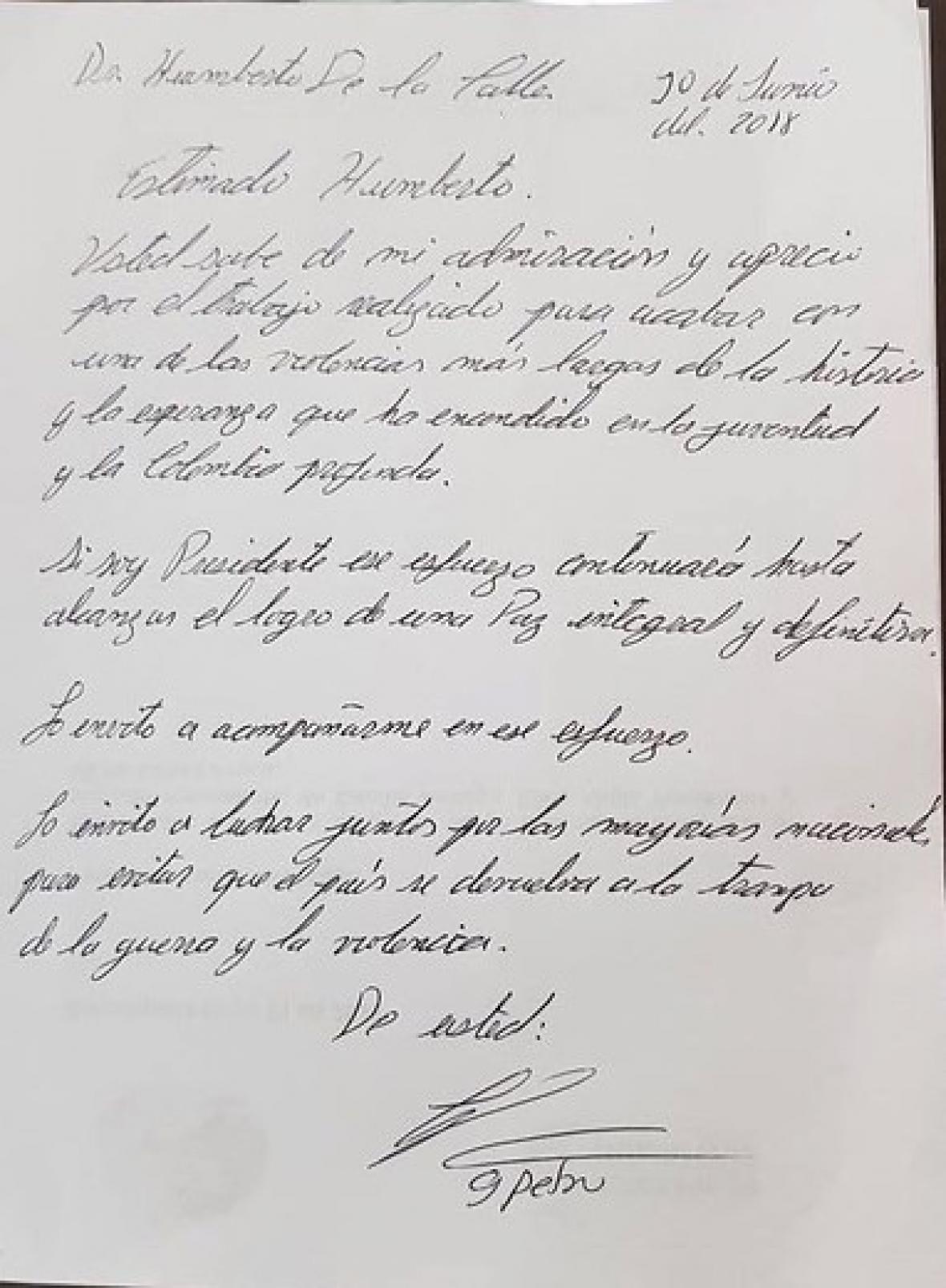 Carta enviada por Gustavo Petro a De la Calle.