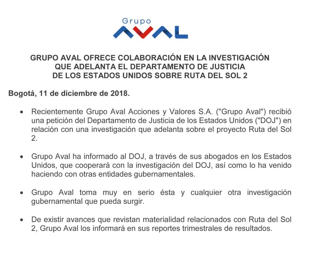 Grupo Aval, dispuesto a colaborar con autoridades de EE. UU
