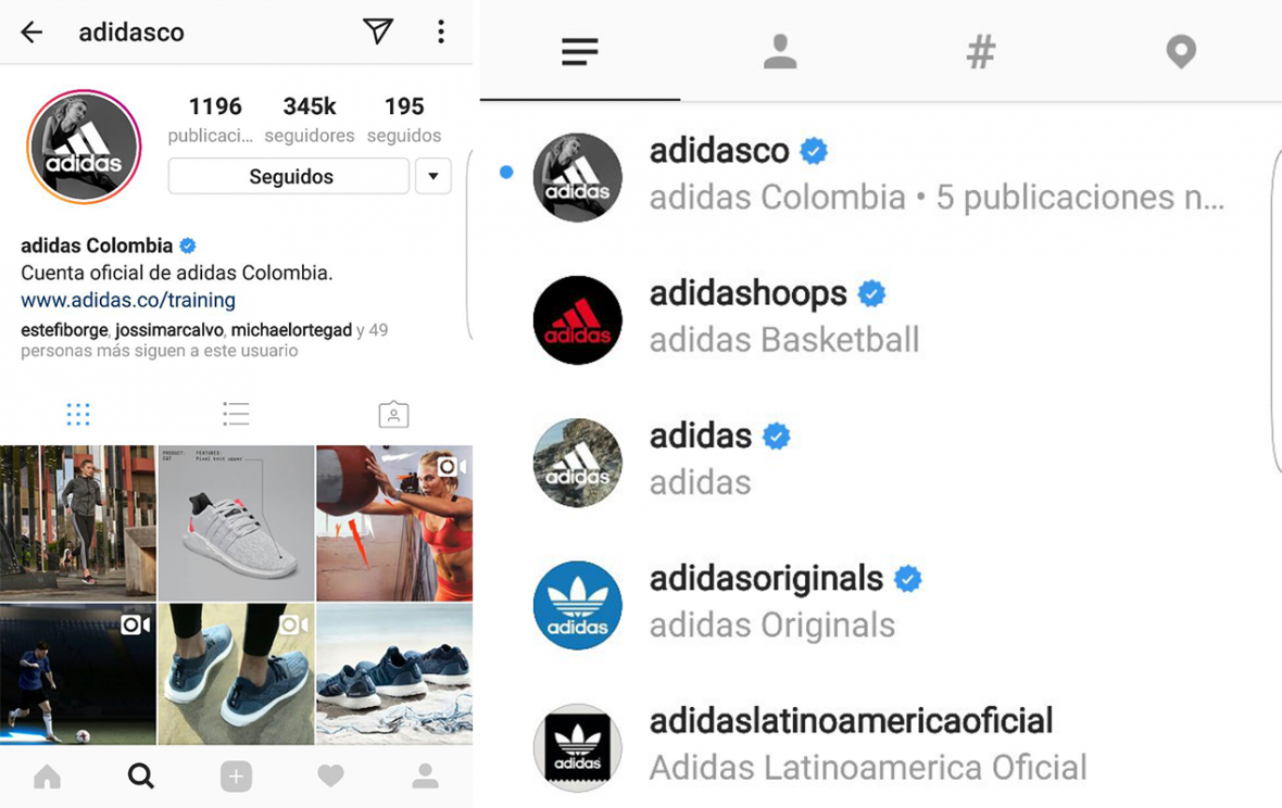 La cuentas de Adidas están verificadas. En la búsqueda en la red social se nota que la única que no tiene el amparo de la palomita azul es la cuenta usada para el engaño.