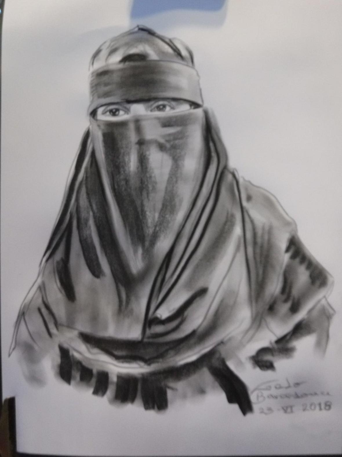Retrato de la mujer con niqab.