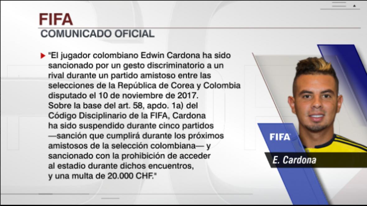 FIFA suspende 5 partidos al colombiano Edwin Cardona