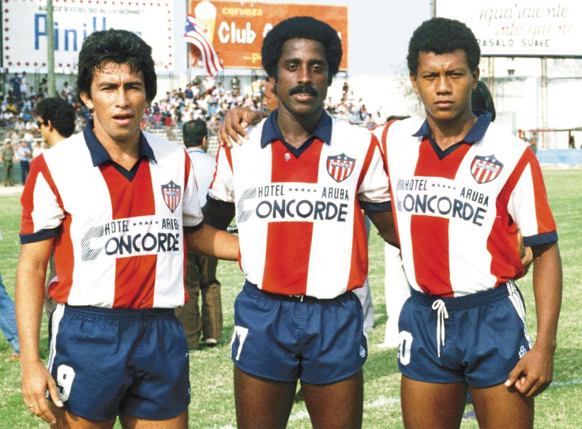 Fernando Fiorillo, William Knight y Didí Valderrama en sus épocas de jugador de Junior.