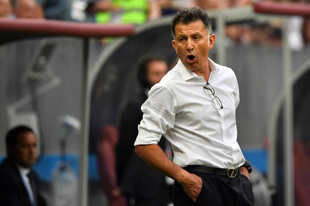 El colombiano Juan Carlos Osorio, técnico de México, durante el partido contra Alemania.
