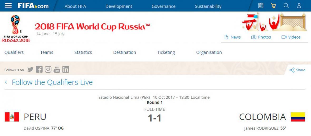 Así registra la Fifa en su página oficial el autogol.