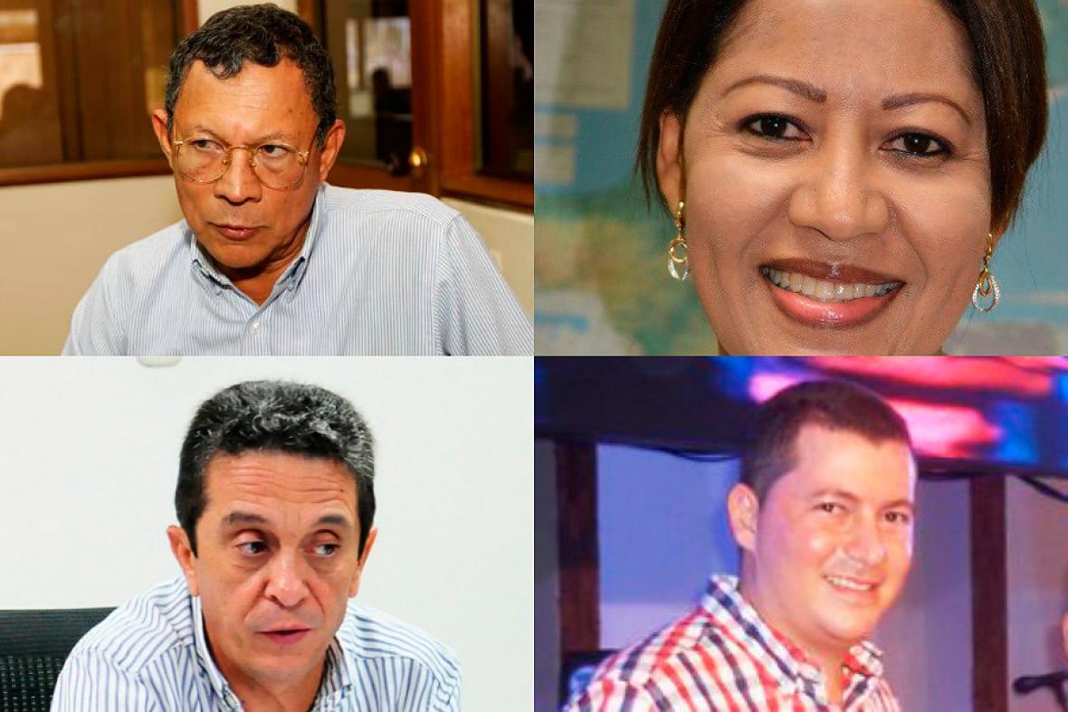 De arriba abajo y de izquierda a derecha: Marcelo Torres, exalcalde de Magangué, Silvia Ospino, exalcaldesa de Dibulla, José García Sanleandro exgerente de Electricaribe y Orlando Medina, exalcalde de Chinú.