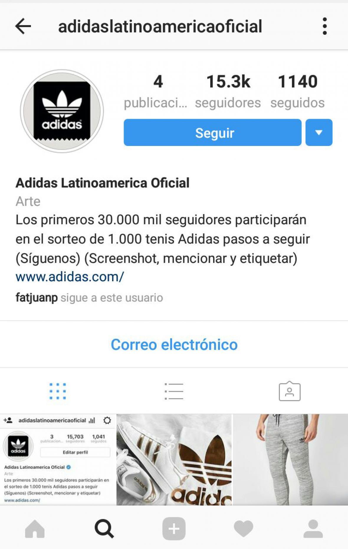 """En esta página, que usa la imagen de Adidas, tiene un falta de ortografía al escribir """"30.000 mil"""". Estas son señales para sospechar."""