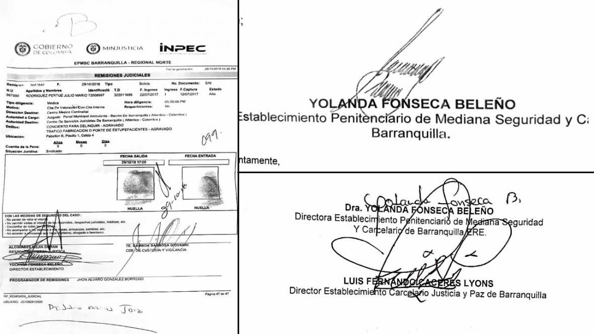 La firma de la izquierda, que corresponde a la orden de remisión del interno, es la falsificada. Las otras dos son de la directora del penal.