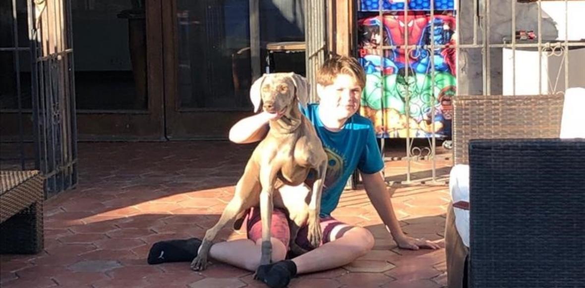 El niño Renato Barrera y su perra Cleo.
