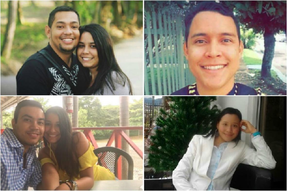 De arriba a derecha, parte superior: Jairo Orozco y Karla Andrea Echeverría; Vladimir Villanueva. Mismo orden, parte inferior: Sergio Alzate y Karen Montaño; Liliana Villanueva.