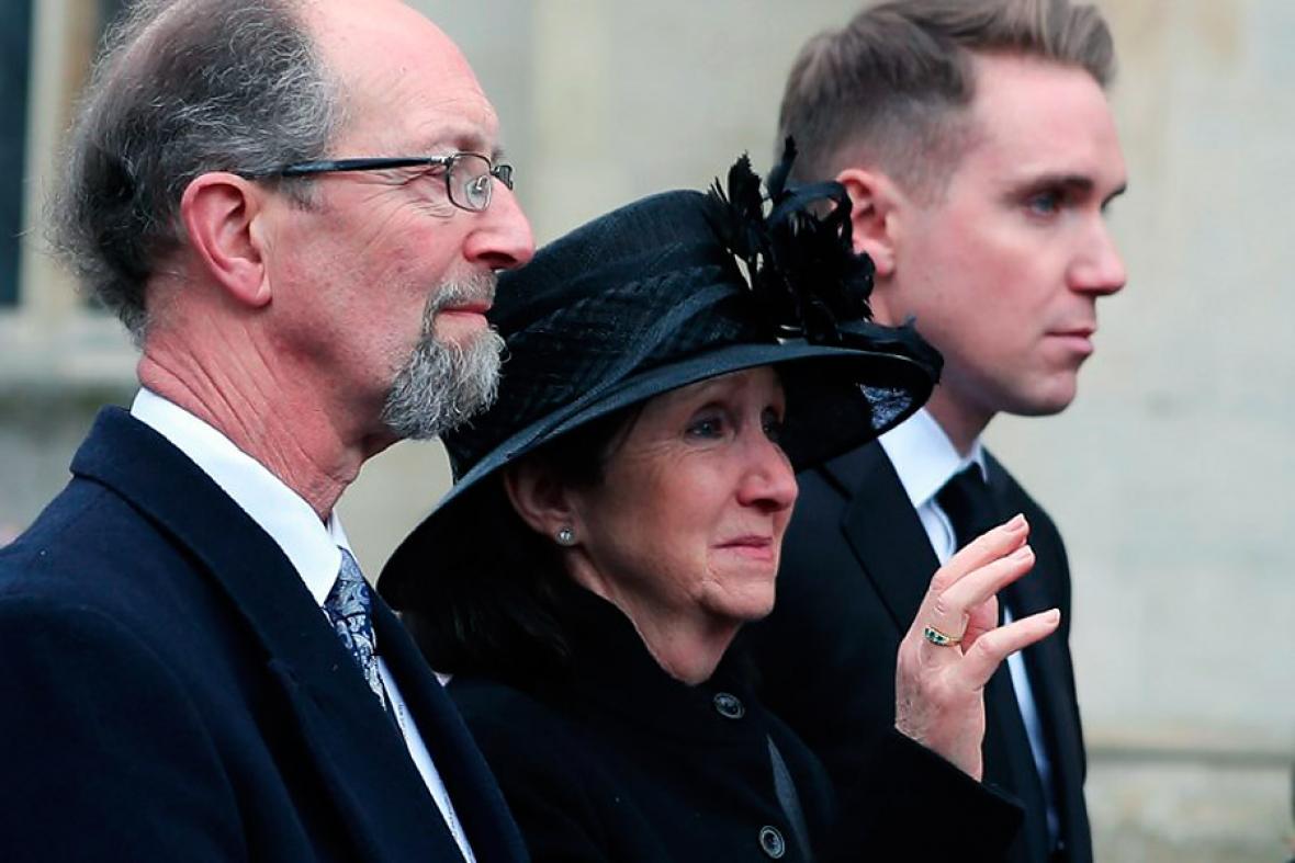 Jane, la primera esposa de Stephen Hawking en el funeral de este sábado.