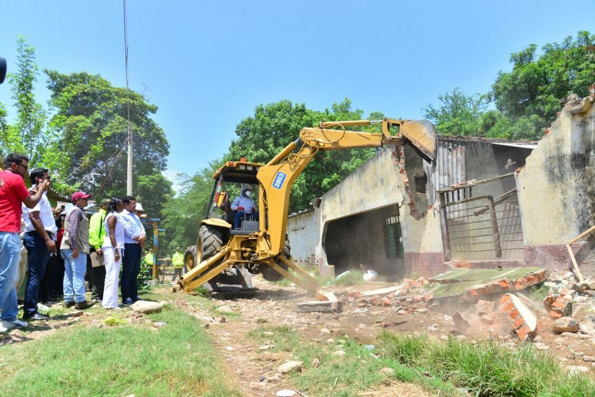 La casa derrumbada en Valledupar.