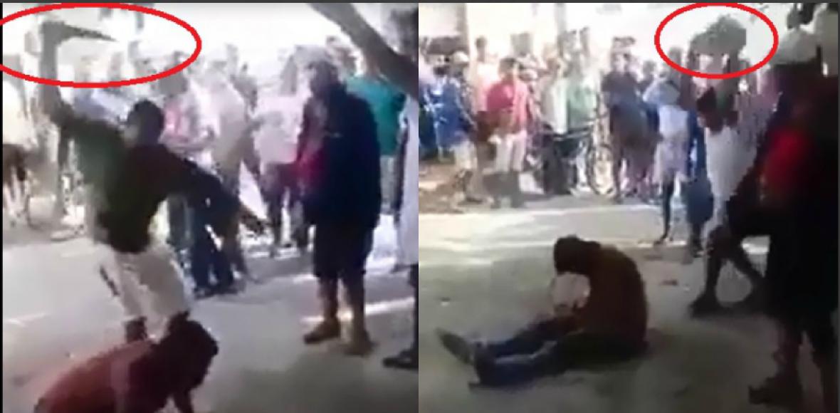 La primera imagen corresponde al ataque con cuchillo contra Luis Ángel Villero, y en la segunda, la piedra que le fue lanzada sobre su cabeza.