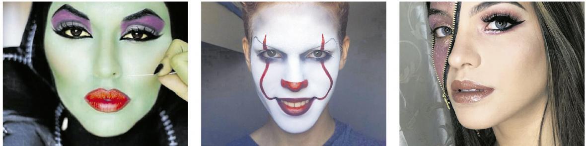 Maquillaje de bruja, 'Eso' el payaso o Pennywise y Maquillajes con correderas.