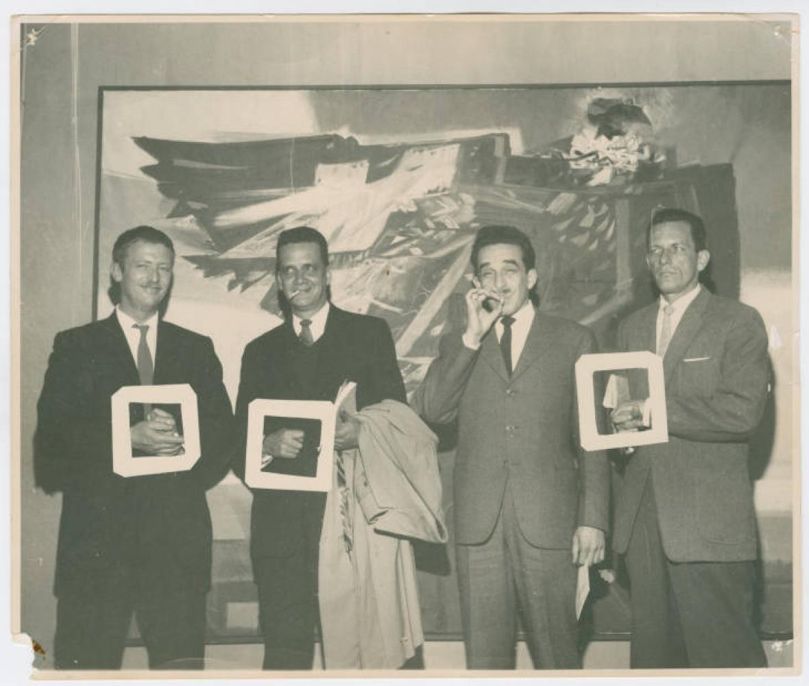 Alejandro Obregón, Germán Vargas, Gabriel García Márquez y un hombre no identificado.