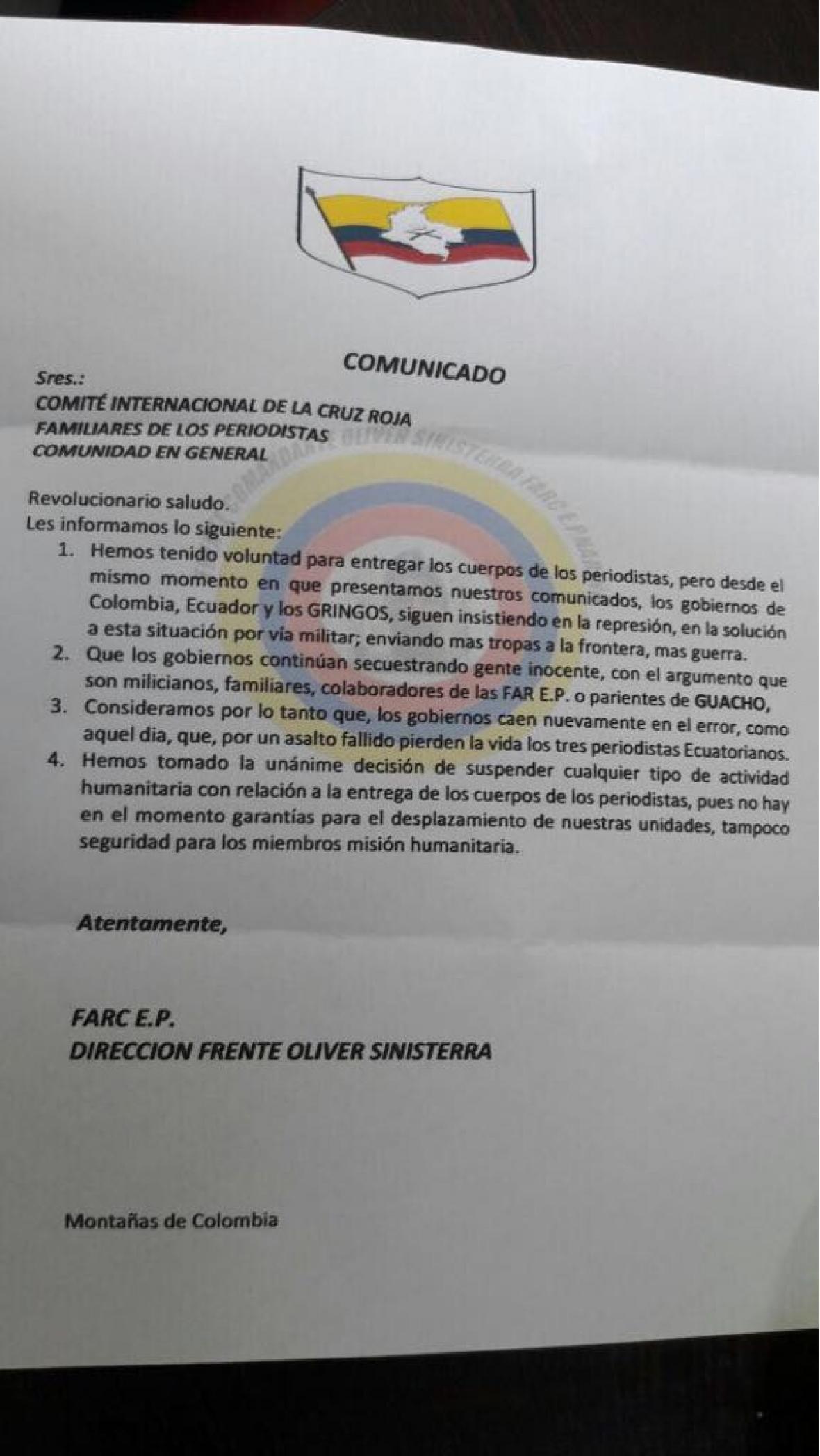 Este es el panfleto que el frente Oliver Sinisterra está haciendo circular en Tumaco.