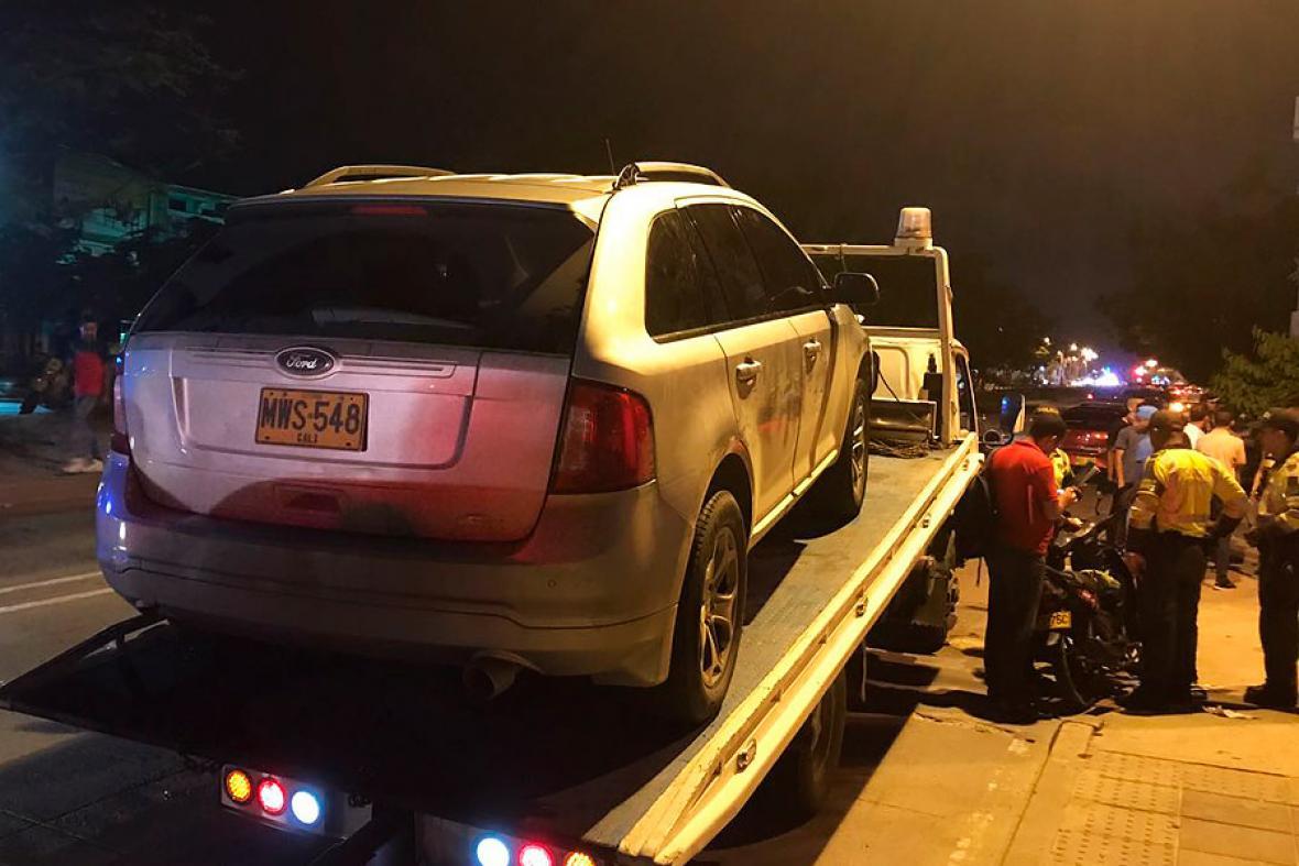 Esta es la camioneta del jugador Rafael Carrascal, una Ford de placa MWS 548. El vehículo fue inmovilizado.