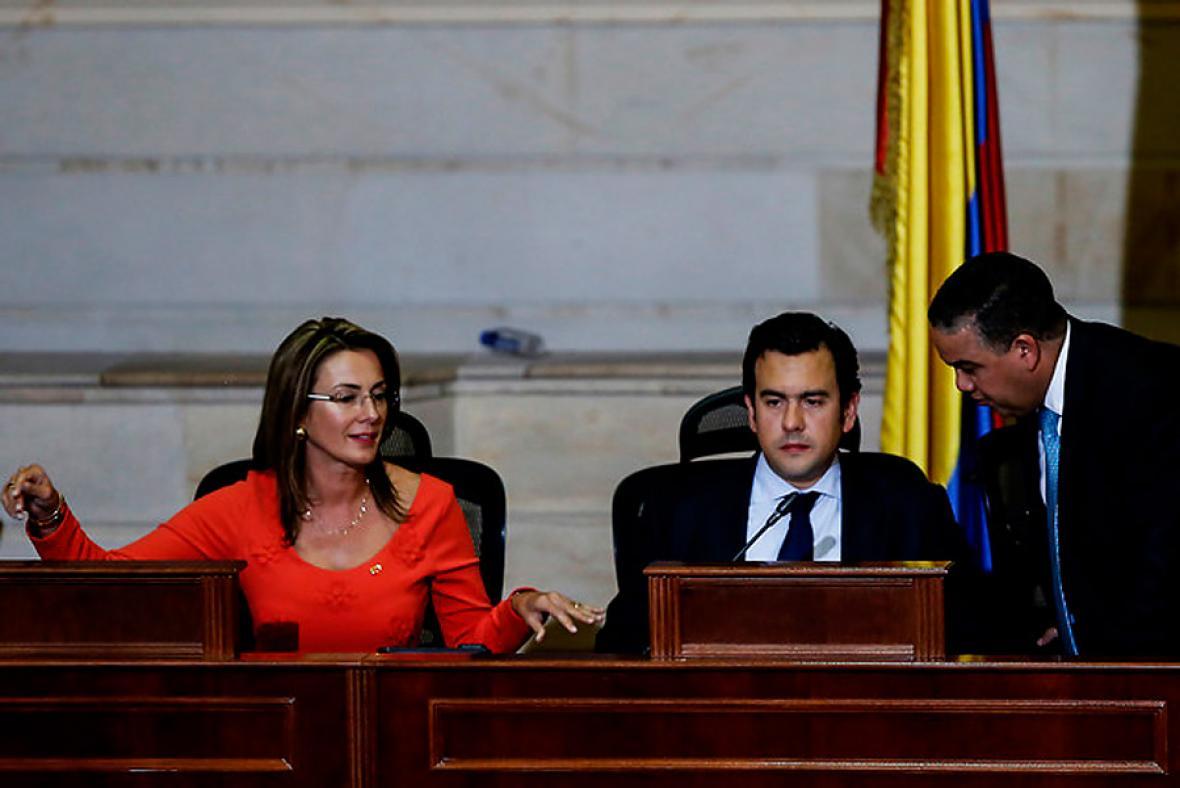 Lina Barrera, primera vicepresidenta de la Cámara, y Rodrigo Lara, nuevo presidente de la  corporación.
